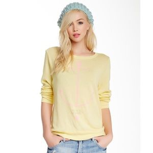 WILDFOX My Yacht or Yours Yellow Pullover Thin XS